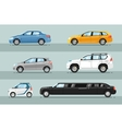 Collection of Passenger Cars Flat Style vector image