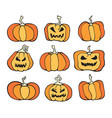 halloween pumpkin comic color set cartoon horror vector image