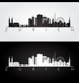 zurich skyline and landmarks silhouette vector image