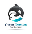 Logo orca whale Isolated white background Grampus vector image