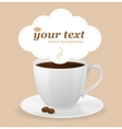 white cup of coffee and text vector image