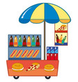 food vendor with hotdog and drinks vector image