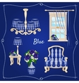 Set of furniture five individual objects in blue vector image