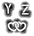 Stencil angular spray font letters Y Z hearts vector image