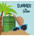 summer time card suitcase hat sunglasses sand palm vector image