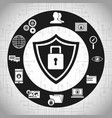 Technology shield protection network system vector image