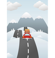 Winter landscape with car on the road vector image vector image