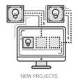 New projects line icons vector image