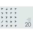 Set of origami birds icons vector image