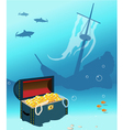 Ship wreck with treasure chest vector image vector image