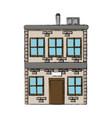 House two story windows chimney image vector image