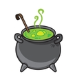 Halloween cartoon kettle with potion isolated on vector image