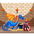King and blue dragon with gold coins vector image vector image