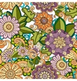 Colored seamless hand drawn pattern with flowers vector image
