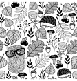 Seamless pattern with forest plants and animals vector image