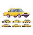 yellow sedan set vector image