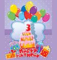 happy birthday 3year 380 vector image vector image