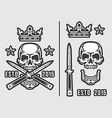 Skull with Crossed Flick Knives and Crown vector image