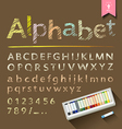 Hand drawn sketch alphabet with pastel color box vector image
