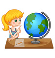 Girl looking at globe on the table vector image vector image