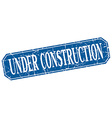 under construction blue square vintage grunge vector image