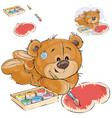 a brown teddy bear paints a vector image