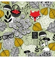 Seamless pattern with forest animals and flora vector image