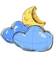 Two clouds and moon weather icon vector image vector image