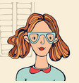 hand drawn portrait of a girl in glasses vector image vector image