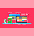 mobile workspace devices concept vector image vector image