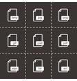 black file format icons set vector image