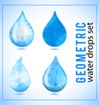 Set of geometric crystal water drops icons vector image vector image