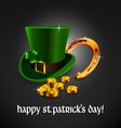Saint Patrick hat with a horseshoe and coins vector image