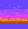 pixel art sunset in the desert vector image