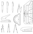 Set of stationery tools line-art vector image