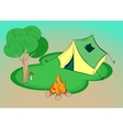 Summer hiking - with tent tree and vector image