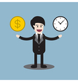 time and money coin on hands of businessman vector image