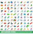 100 career icons set isometric 3d style vector image