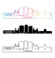 Tucson V2 skyline linear style with rainbow vector image