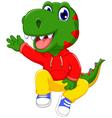 funny dinosaur cartoon waving vector image