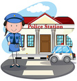 Policewoman working at police station vector image vector image