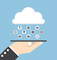 Businessman hand holding tablet with cloud vector image