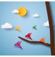 flock of birds flying paper art style vector image