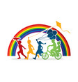group of children running friendship graphic vector image