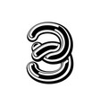number 3 celtic font norse medieval ornament abc vector image