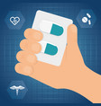 hand holding medicine capsule vector image