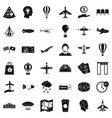 airplane icons set simple style vector image