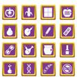 gmo icons set purple vector image