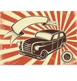 Retro car poster vector image vector image