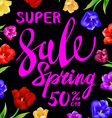 pink sale spring sign with black background color vector image